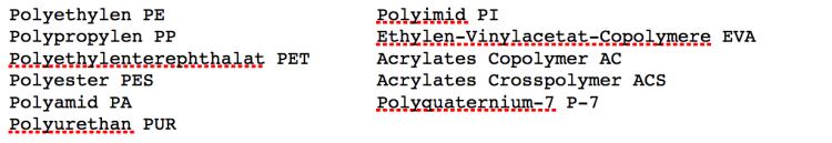 Mikroplastik Bezeichnung in Inhaltsstofflisten