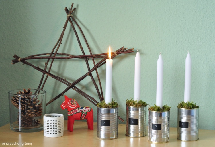 Upcycling Adventskranz aus Konservendosen